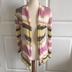 Fine knit sweater size small. Gray yellow pink.